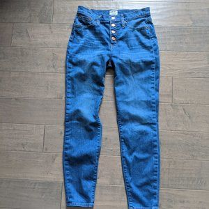 J Crew High Rise Button Front Skinny Jeans Size 29